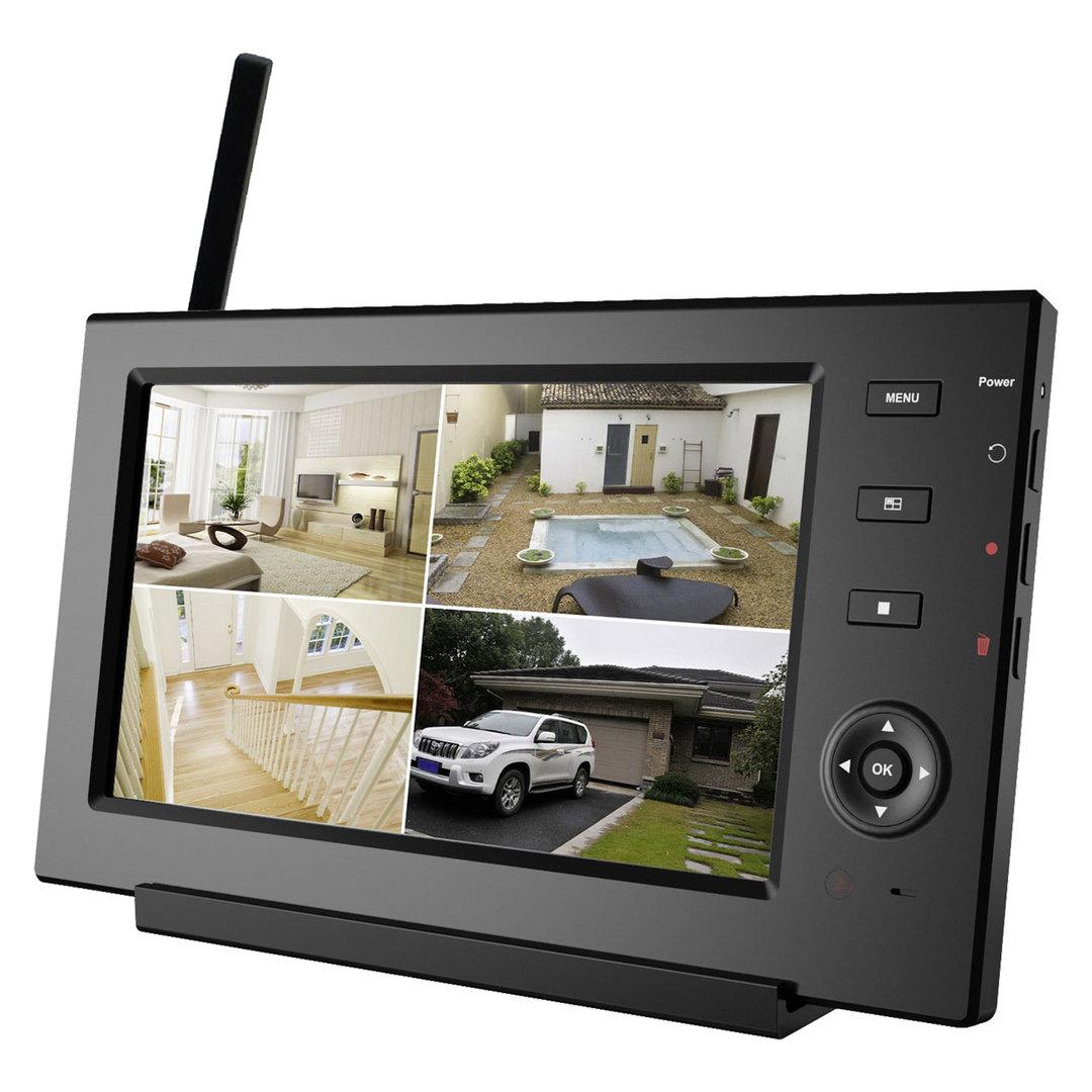 detec secure 7 zoll funkset mit 1 kamera und smartphone support. Black Bedroom Furniture Sets. Home Design Ideas