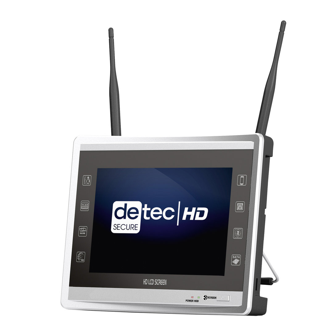 detec secure 4 kanal wlan set mit 11 zoll tft monitor. Black Bedroom Furniture Sets. Home Design Ideas